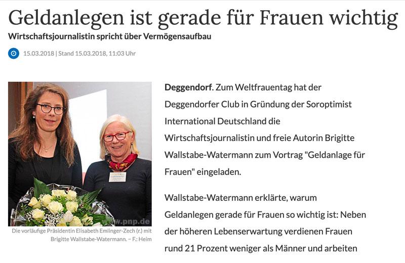 Ein Artikel über Wirtschaftsjournalistin Brigitte Watermann